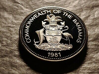 RARE PROOF 1981 BAHAMAS FIVE DOLLARS 42g .500 w HOLDER. less than 1,980 minted