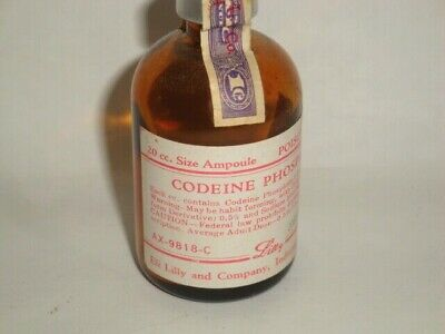 Nice Old Controlled Substance Eil Lilly Codeine Pharmaceutical Medicine Bottle