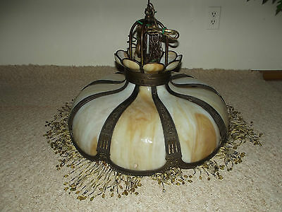Leaded Glass Hanging Lamp with Beaded Fringe and Etched Brass Original