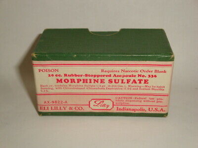 Nice Old Controlled Substance Eli Lilly Morphine Pharmaceutical Medicine Box