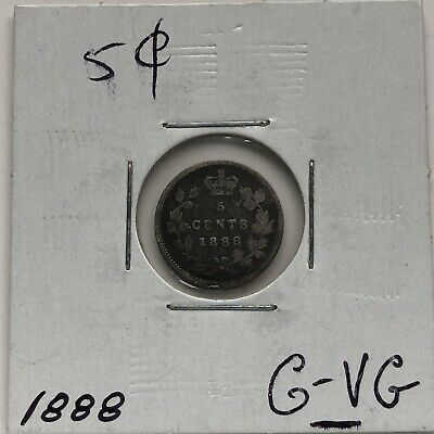 1888  CANADA 5 CENTS SILVER ***L@@K***NICE GRADE***Combined Shipping***L@@K***