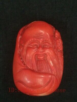 Antique Collection Chinese Natural Coral Carving god of longevity Statue Pendant
