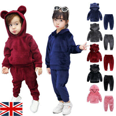 Toddler Baby Boys Girls 2PCS Tracksuits Tops + Pants Set Kids Outfits Clothes UK