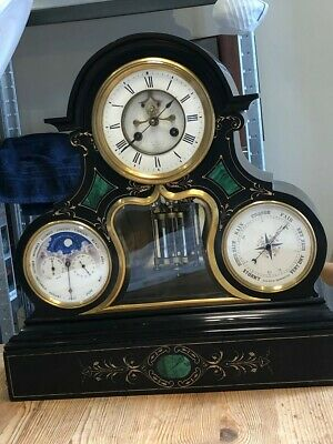3 Dial Moonthase Calendar Barometer  Marble Slate Mantle Clock 19Th Century