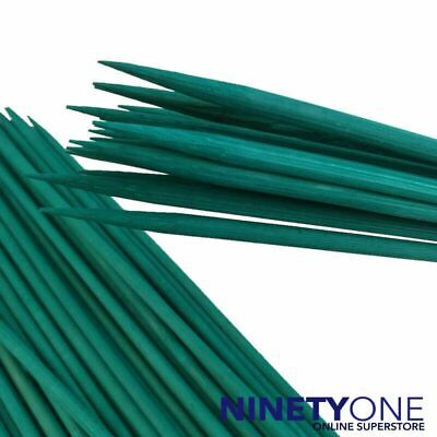 100x Green Bamboo Plant Support Sticks 30cm Canes Spiky End Floral Stake Garden
