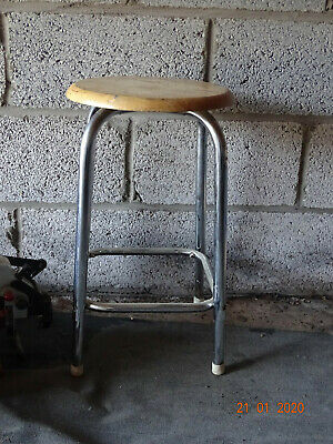 Vintage Chrome legged stool with wooden seat