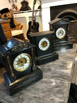 3  ANTIQUE MARBLE/ SLATE MANTLE CLOCKS FOR SALE OR CAN BE SOLD SEPARATE 1880s