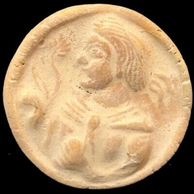 Large Ancient Sasanian Clay Seal With Face (1)