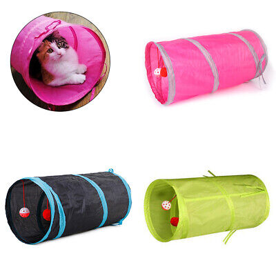 Funny Collapsible Cat Tunnel Tube Interactive Indoor Cat Peek 2 Holes Kitten Toy