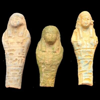 Very Rare Ancient Egyptian Hieroglyphic Shabti Fragment Group, Late Period (1)
