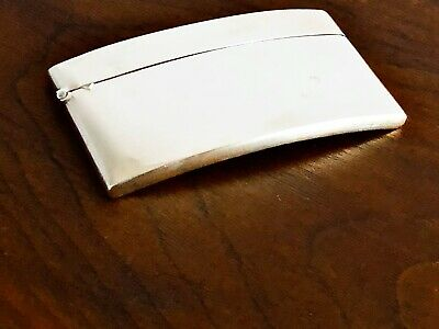 - Foster & Bailey Sterling Silver Curved Card Case: Hinged Lid No Monograms