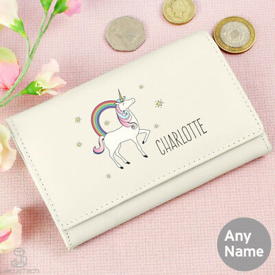 Brand New Personalised Purse, Unicorn. Girls Ladies Name. Genuine Leather. Cream