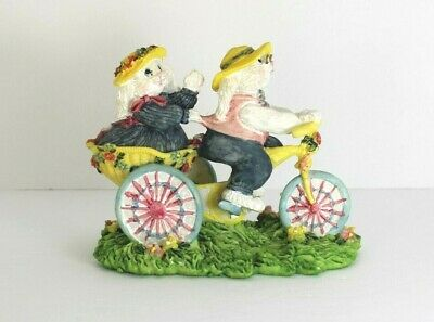 Bunnies on Bicycle Figurine Spring Easter Bunny Rabbit Decoration