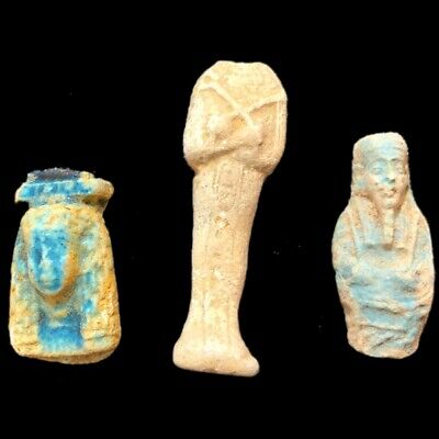 Very Rare Ancient Egyptian Hieroglyphic Shabti Fragment Group, Late Period (3)