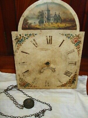 Antique 30 hour longcase/grandfather clock movement with dial, chain and bell 2