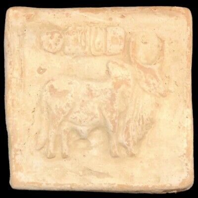 Large Ancient Sasanian Clay Seal With Bull (3)