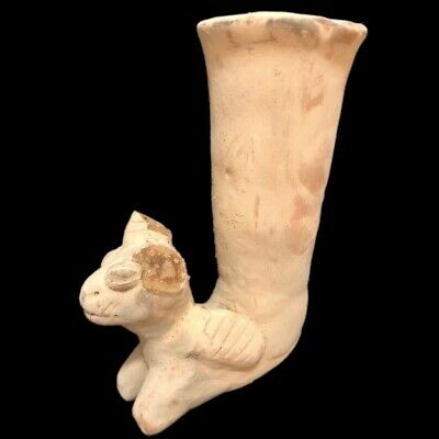 Rare Ancient Large Terracotta Drinking Rhyton 500 B.c. (2)