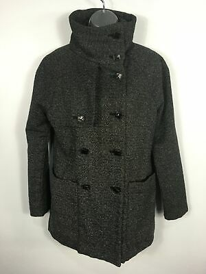 Womens Gap Black White Flecked Wool Mix Double Breasted Smart Coat Xs X Small