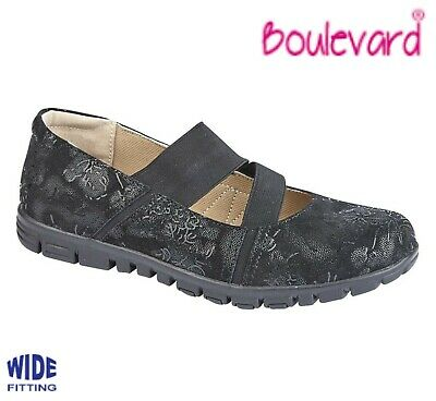 LADIES Wide EEE Fitting Slip On Shoes - Black Patterned Suede Size 3 4 5 6 7 8 9