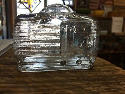 Vintage Figural AM Transitor Radio Clear Glass Still Coin Bank Raised Slot