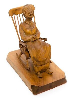 Vintage Hand Carved Wooden Sculpture Old Lady On a Rocking Chair Caron Quebec