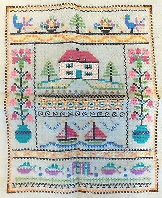 Antique Early 20 Th C  Embroidery Sampler , Folk Art  Name ''Pearl''