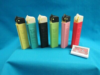 Vintage Pez Lot of 6 Lighters Yellow, Blue, Black, Green, Pink and Red No Feet