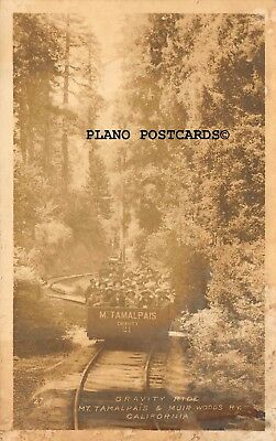"Muir Woods, Nat. Park, California ""Gravity Train Ride"" Rppc Real Photo Postcard"