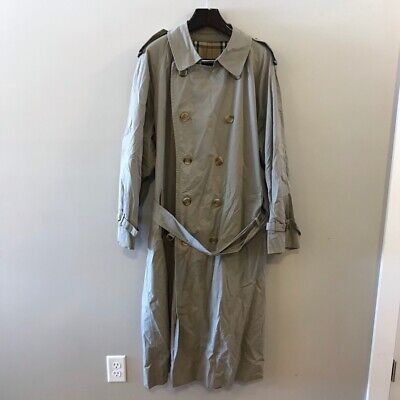 Burberrys Mens Trench Coat Beige Double Breasted Lined Cotton Blend Long 42