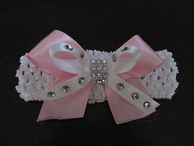 Baby / Girls Crochet Romany / Spanish Bling double bow Headband.