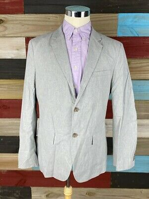 Banana Republic Mens Suit Jacket Gray Tailored Slim Fit Stretch 44 R New