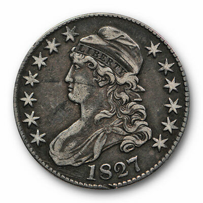 1827 50C Capped Bust Half Dollar Extra Fine Toned Square Base 2 #2170