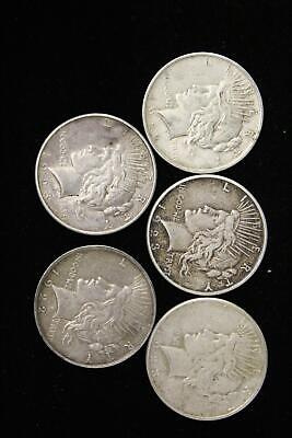 1922-1923 Peace Silver Dollars-5 Coins-Free shipping-Sale Priced