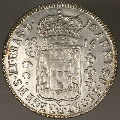Brazil 1816 960 Reis XF / AU silver once cleaned