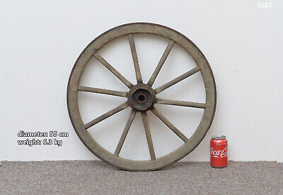 Vintage old wooden cart wagon wheel  / 55 cm / 6.3 kg - FREE DELIVERY
