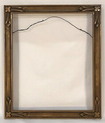 Antique Early 20th C Arts & Crafts Hand Carved Dark Gold Frame 10 x 12 Opening