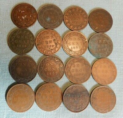 1859 - 1920 16 Diff. Canada Lg Cents--Some Better Date & Details w/Low Mintage