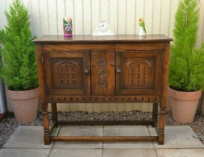 Lovely Antique Style Solid Oak Sideboard Hall Table Cabinet Priory Old Charm