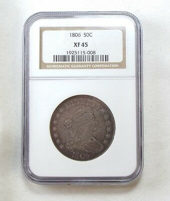 1806 Draped Bust/Pointed 6 w/Stem Silver Half Dollar CERTIFIED NGC XF 45 50c