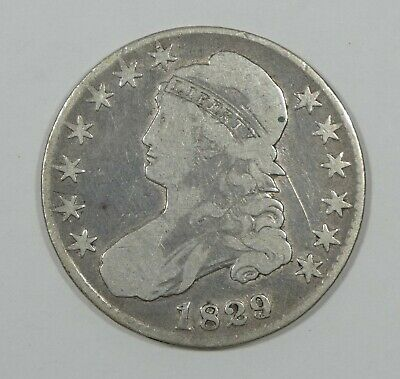 1829/27 Capped Bust/Lettered Edge Half Dollar VERY GOOD (VG) Silver 50-Cents