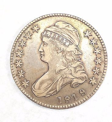 1819 Capped Bust/Lettered Edge Half Dollar EXTRA FINE Silver 50-Cents