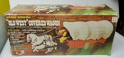 Universal Old West Covered Wagon Battery Operated Toy Original Box Cowboy Horse