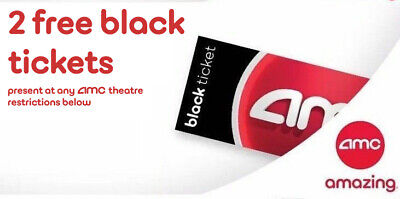 2 AMC Movie Theater Black Tickets, 2 Large Popcorns, 2 Large Drinks E-delivery