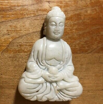 Chinese carving WHITE OLD Jade Buddha DESK  STATUE PAPERWEIGHT  Pendant