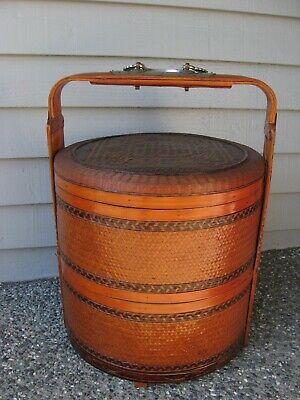 Antique Vintage Chinese Rattan Stacking Wedding Dowry Basket ~ Double Happiness