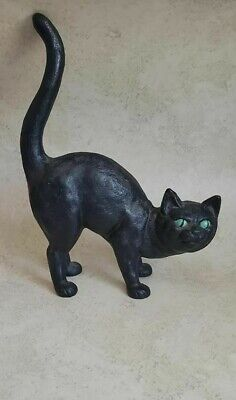 Vtg Antique Black Cast Iron Pouncing Arched Halloween Cat Door Stop Witch Wicca