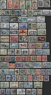 1950-65 1950~1965 bulk lot of 94 Canadian stamps used