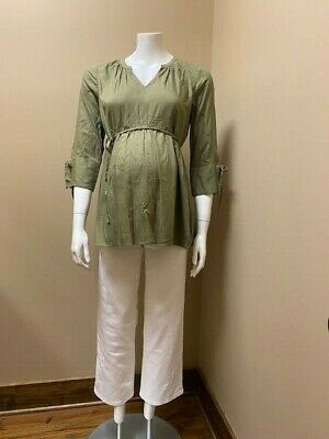 Motherhood Maternity Olive Green Shirt XS and White Jeans Size 25 New with Tags