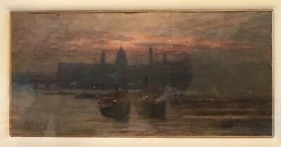 Maria Eaton Vintage Watercolour The Thames From Tower Bridge