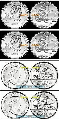 4x CANADA 2007 2009 OLYMPIC WHEELCHAIR CURLING & WOMEN'S HOCKEY 25 CENT COIN LOT